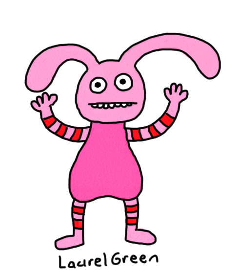 a drawing of a bunny with stripes on its arms and legs