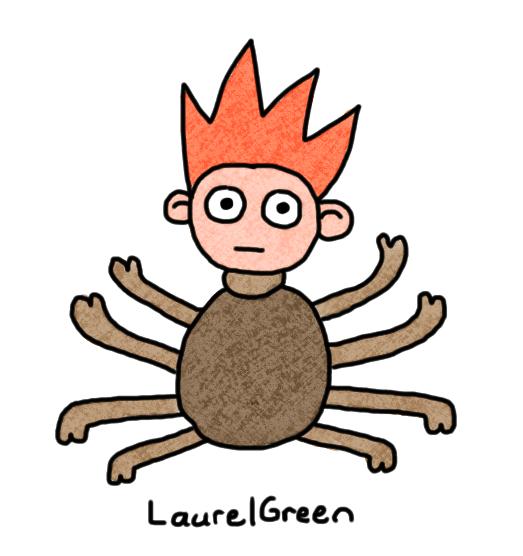 a drawing of a half tick half boy
