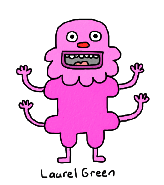 a drawing of a pink, happy thing with four arms