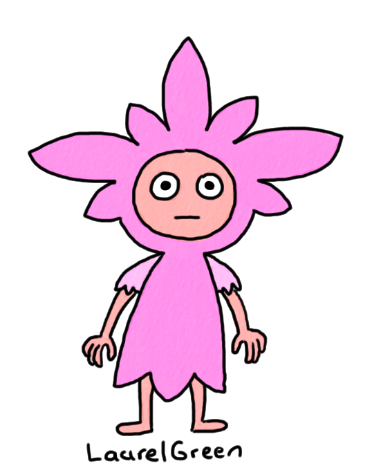 a drawing of a person wearing a flowery outfit