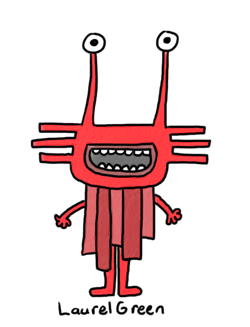 a drawing of a red rectangular creature