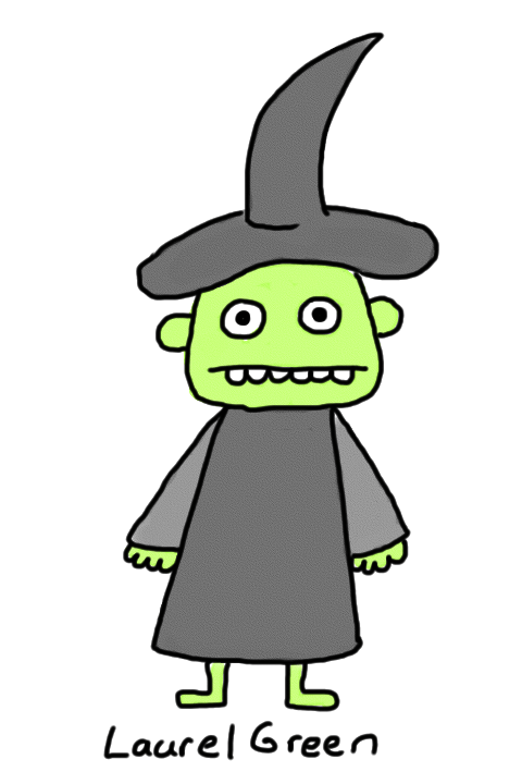 a drawing of a witch