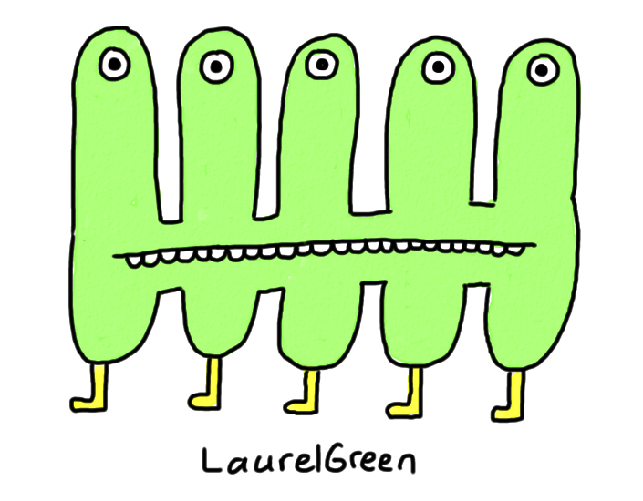 a drawing of a creature with five eyes and five legs