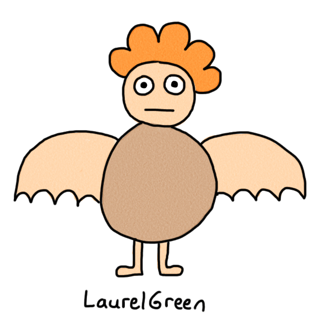 a drawing of a naked boy with wings