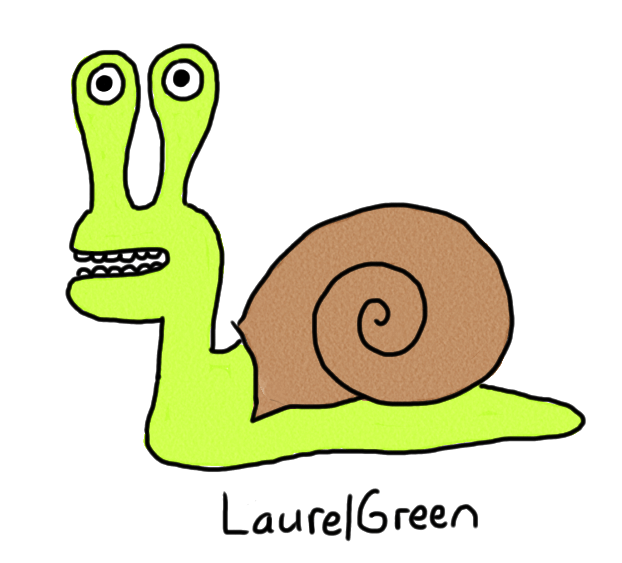 a drawing of a snail