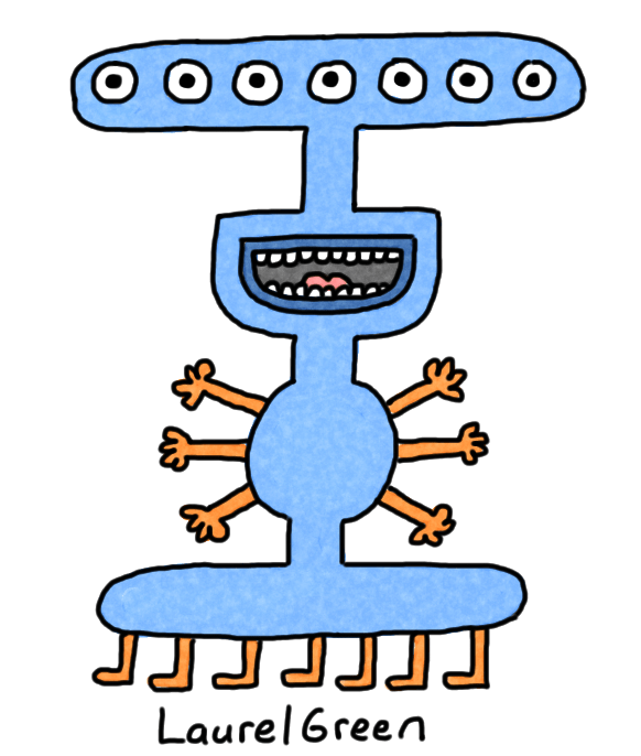 a drawing of a creature with seven eyes, six arms and seven legs