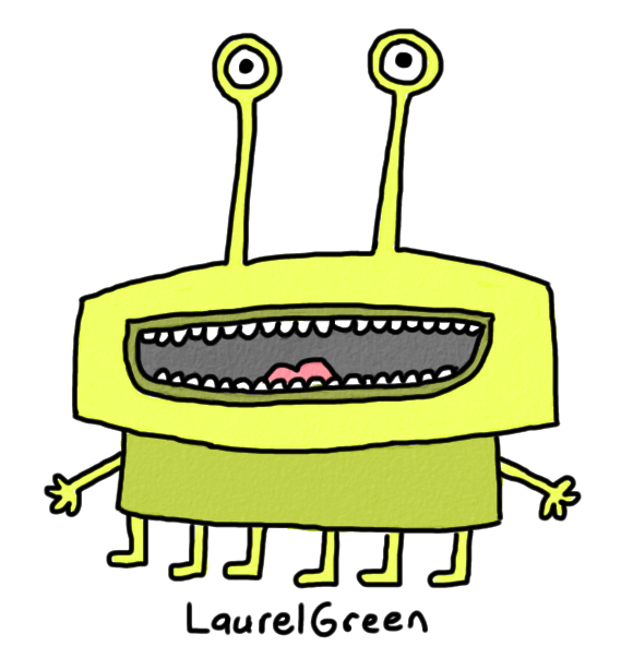 a drawing of a green creature with a wide mouth
