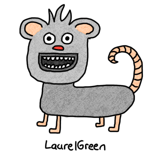 a drawing of a rabid mouse