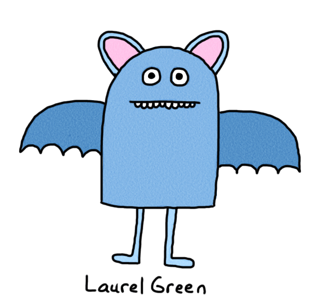 a drawing of a blue bat