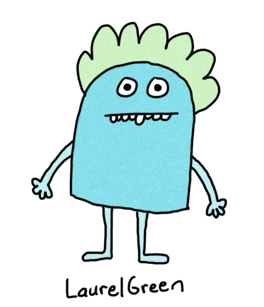 a drawing of a green person