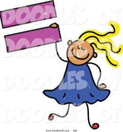 vector clipart of a childs sketch of a smiling child girl holding an equal sign [ 1024 x 1044 Pixel ]