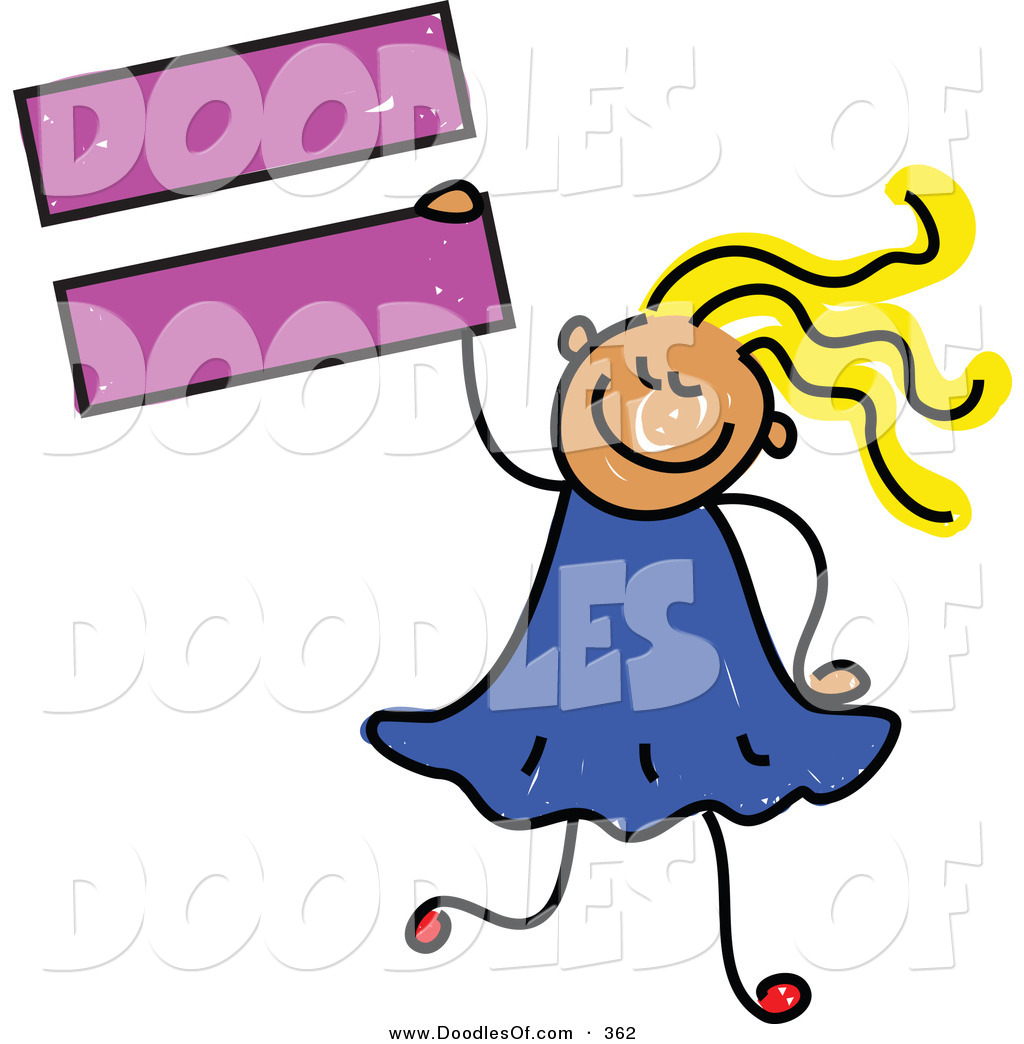 hight resolution of vector clipart of a childs sketch of a smiling child girl holding an equal sign