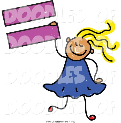 small resolution of vector clipart of a childs sketch of a smiling child girl holding an equal sign