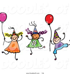 vector clipart of a doodle of children wearing party hats and holding balloons [ 1024 x 1044 Pixel ]