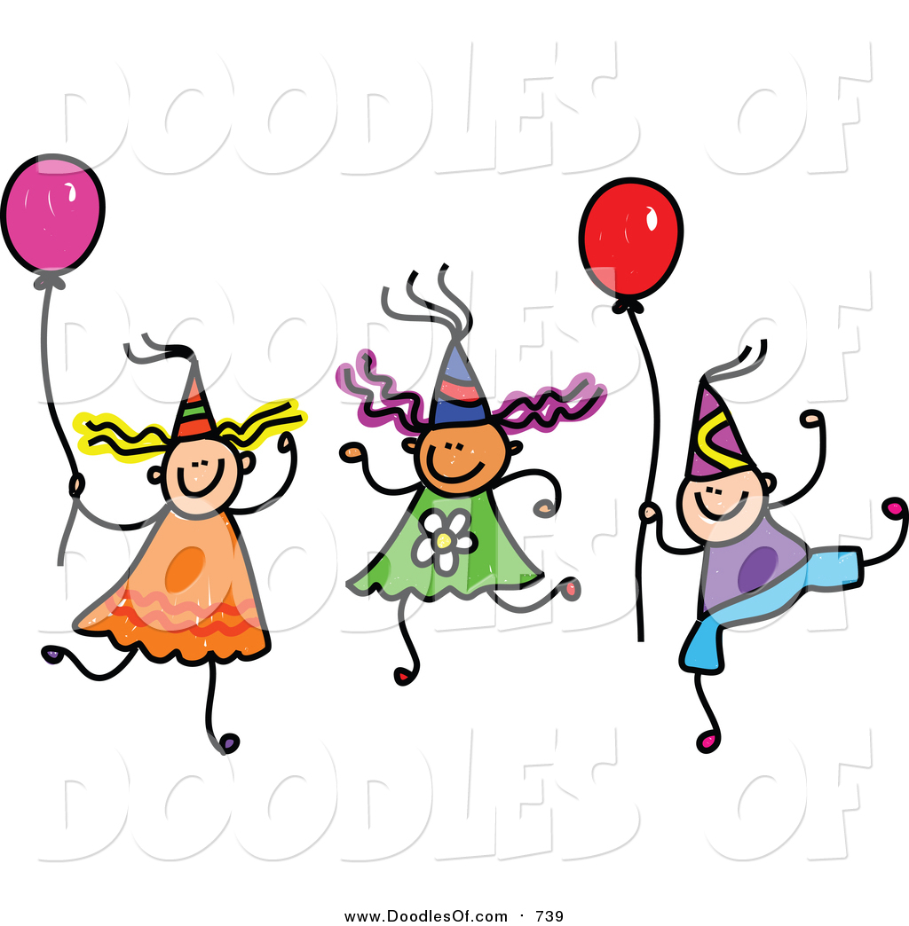 hight resolution of vector clipart of a doodle of children wearing party hats and holding balloons