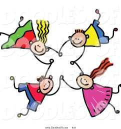 vector clipart of a doodle of four kids holding hands while falling [ 1024 x 1044 Pixel ]