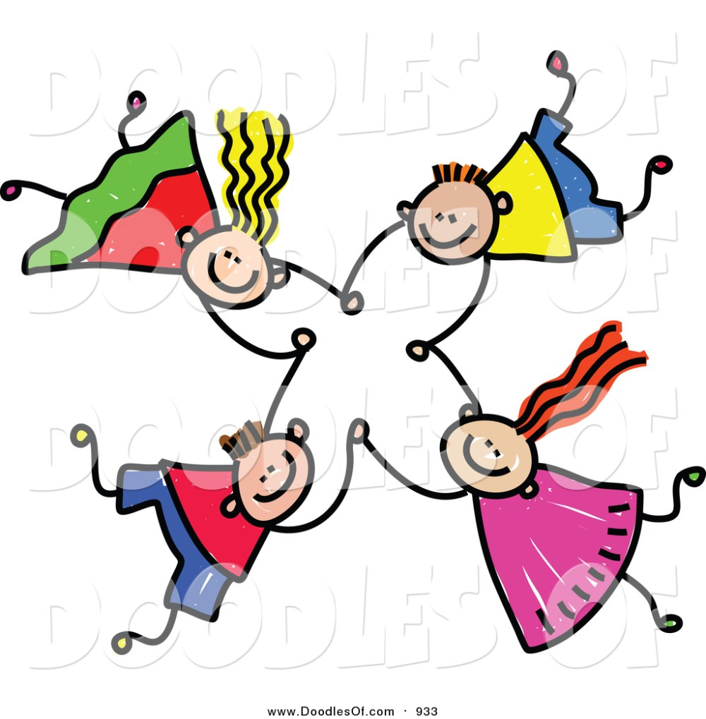 medium resolution of vector clipart of a doodle of four kids holding hands while falling