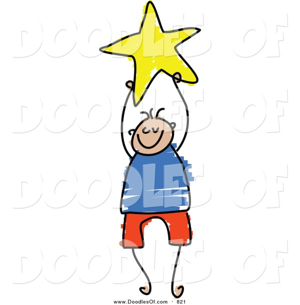 Vector Clipart Of Doodled Boy Holding Yellow Star