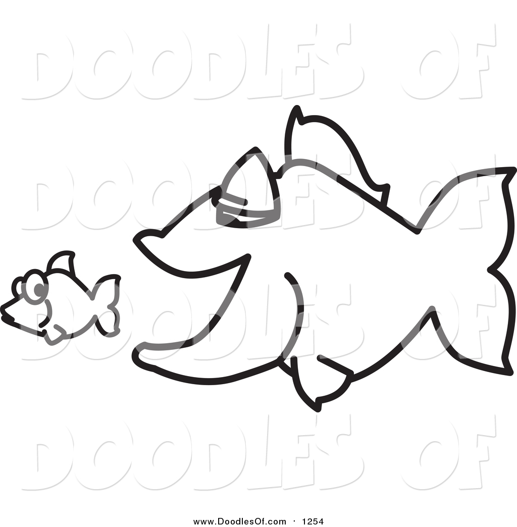 Vector Clipart Of A Doodled Squiggle Big Fish Chasing A