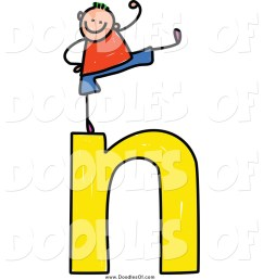 vector clipart of a doodled stick boy cheering on a lowercase letter n [ 1024 x 1044 Pixel ]