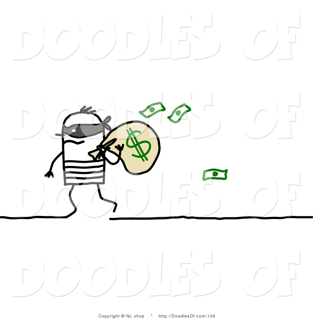 Vector Clipart Of A Stick Figure Person Man Robber