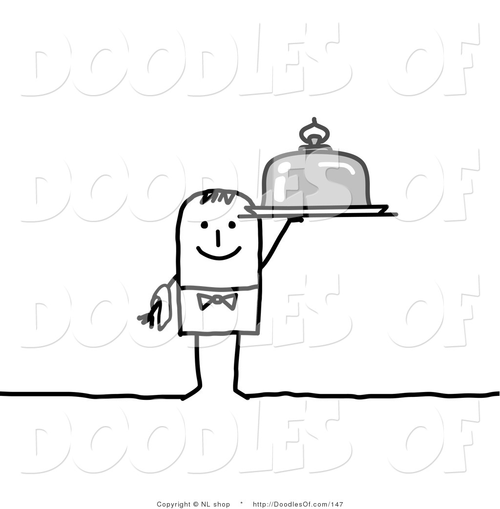 Vector Clipart Of A Stick Figure Person Man Waiter Holding
