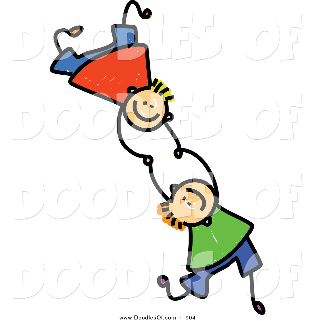 hight resolution of vector clipart of doodled boys falling and holding hands