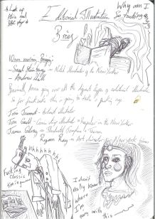 Notes taken during the seminar section of the workshop; I made note of all the illustrators Anna mentioned.