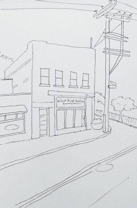Blue Bird Bistro Urban Sketch Kansas City Doodlewash