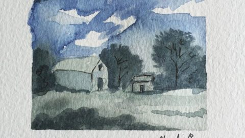 House Landscape Watercolor Doodlewash