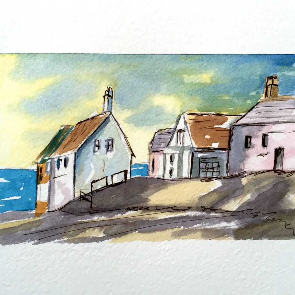 Houses On The Ocean Watercolor Painting Doodlewash