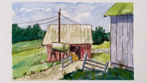 Watercolor Painting Barn On A Farm Doodlewash