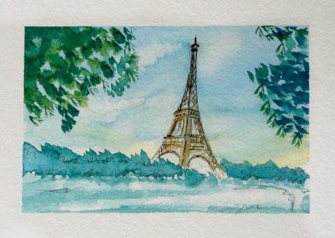 Eiffel Tower Watercolor Painting Doodlewash