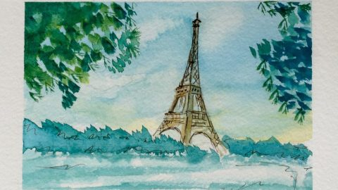 Eiffel Tower Watercolor Painting Doodlewash