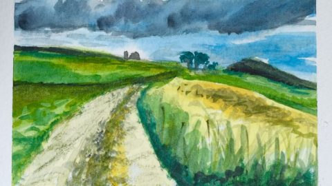 Stormy Sky Watercolor Painting Doodlewash