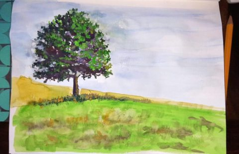 Watercolor Painting Landscape Tree