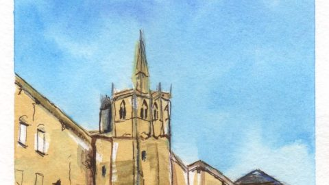 Chapelle Saint-Hubert Watercolor Painting