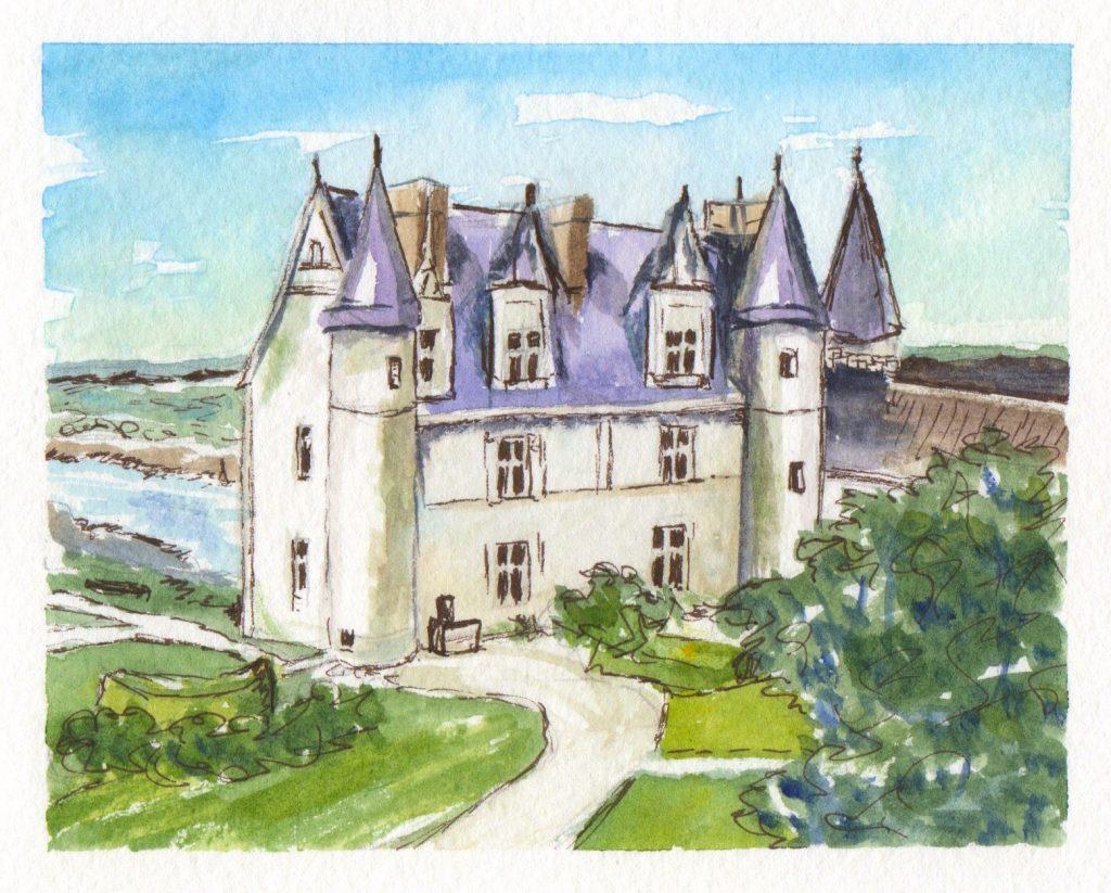 Château d'Amboise Watercolor Painting Aquarelle