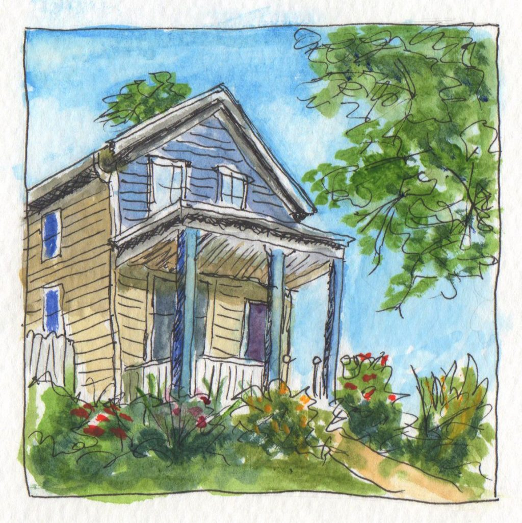 Watercolor Sketch House In Kansas City