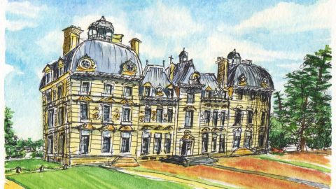 Château de Cheverny Watercolor by Charlie O'Shields