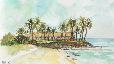 Beach House Watercolor by Carol Jurczak