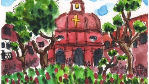 Malacca Malaysia Watercolor Painting by @Phinomet