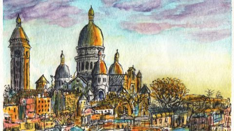 La Basilique du Sacré-Cœur Watercolor Painting