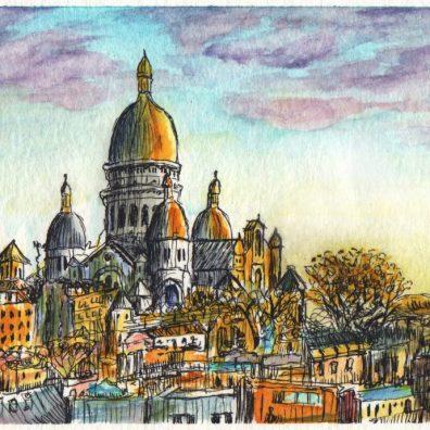 La Basilique du Sacré-Cœur Watercolor Painting