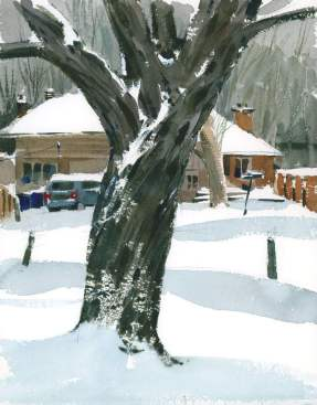 Blue and Rust by Shari Blaukopf - watercolor painting and urban sketching of trees with snow - Doodlewash