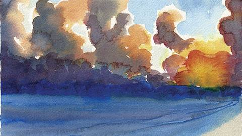 Doodlewash by Meagan Healy - abstract watercolor painting of waves and sunsets in Hawaii