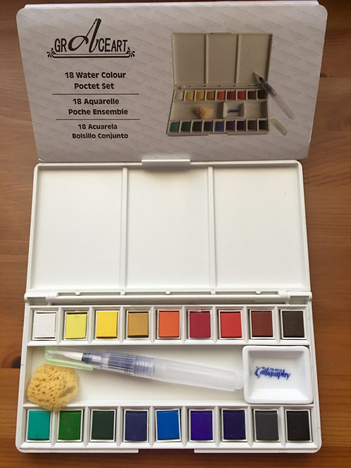 Grace Art Model 118 18-piece Water Colors Field Sketch Set with Brush