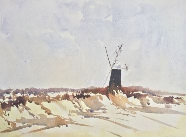 Doodlewash by John Haywood - landscape with windmill watercolor painting