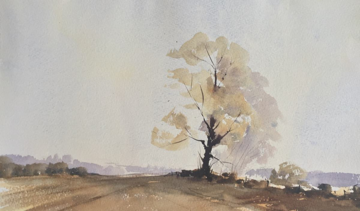 Doodlewash by John Haywood - landscape with tree watercolor painting