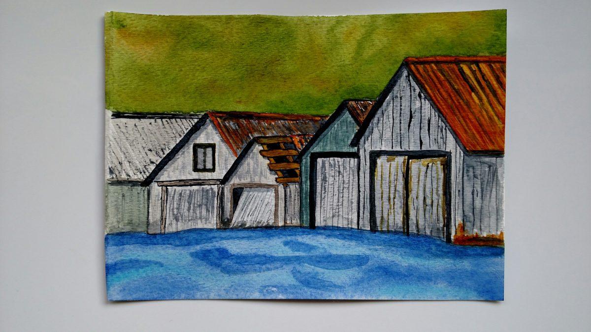 Doodlewash by Rob Nopola wooden buildings in watercolor